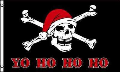 YO HO HO Pirate Santa Claus Flag 3x5 ft Jolly Roger Skull Ch