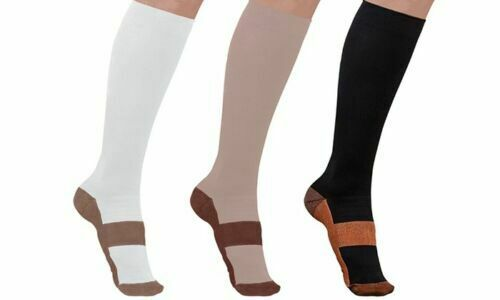 (3 Pairs) Copper Infused Compression Socks 20-30mmHg Graduated Mens Womens S-XXL