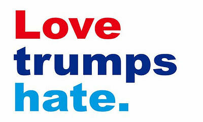 Love Trumps Hate 3x5 Rectangle Bumper Sticker Decal Hillary