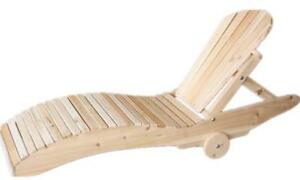 Amish Handcrafted White Cedar Wood Outdoor Chaise Lounge chair - FREE SHIPPING
