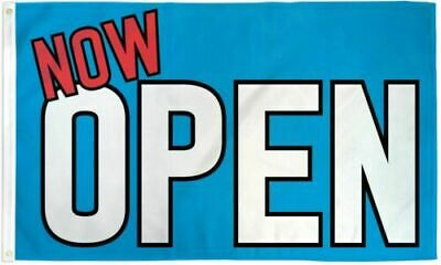 Now Open Flag Blue Business Banner 3 X 5 Foot Grand Opening Advertising Sign New