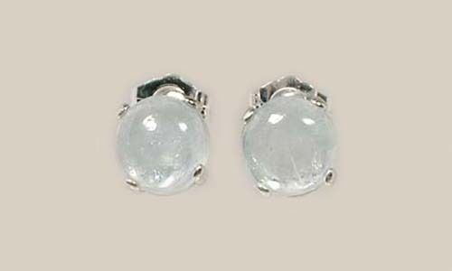 18th Century Antique Gemstone 3½ct Aquamarine Studs in Sterling Silver Earrings