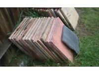 "23 WHOLE (AND SOME PIECES) GARDEN PATIO SLABS 17 1/2"" SQUARE"