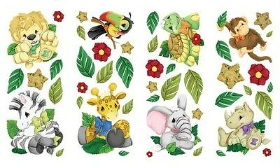 - ZOOTLES Safari Zoo JUNGLE ANIMALS Theme Baby Nursery Decor WALL STICKER DECALS