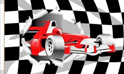 RACING CAR FLAG 5' x 3' Black & White Checkered Formula One F1 Cars For Sale