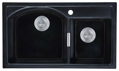 """Matte Black 32"""" Granite Kitchen Sink Drop-In Sink Double Bowl Kitchen Sink&Drain"""