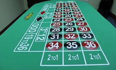 Rollout Gaming Roulette Table Top Layout - Rubber Line Bottom - Better Than Felt