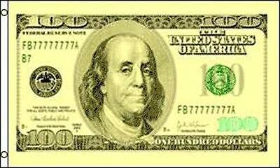 100 HUNDRED DOLLAR BILL FL#388 3x5 FLAG money dolla hundo washington decor wall