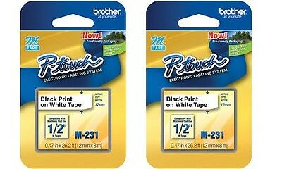 2 Packs - Brother P-touch M-tape 12 Inch - Black On White -- M-231