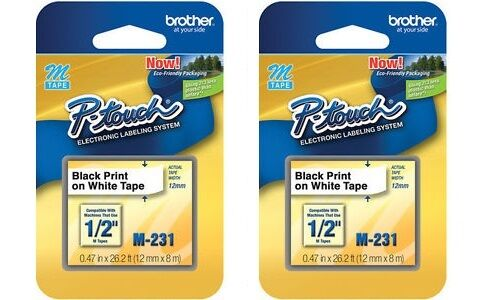 2 Packs – Brother P-Touch M-Tape 1/2 inch – BLACK on WHITE —  M-231 Business & Industrial