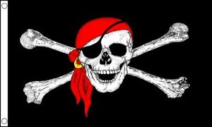 PIRATES FLAG JOLLY ROGER SKULL AND CROSS BONES RED BANDANA 5FX 3FT