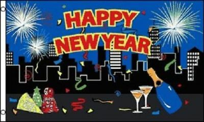 Happy New Year Eve (Happy New Year Flag Party Banner New Years Eve Event Holiday Pennant 3x5)