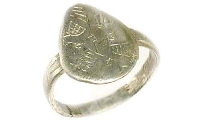 AD1200 Ancient Roman Byzantine Greek Macedonia Engrave Abstract Silver Ring Sz7¼