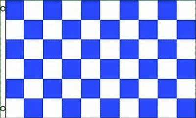 Blue & White Checkered Flag 3x5 ft Checker Checkerboard Pattern Banner - Blue Checkered Flag