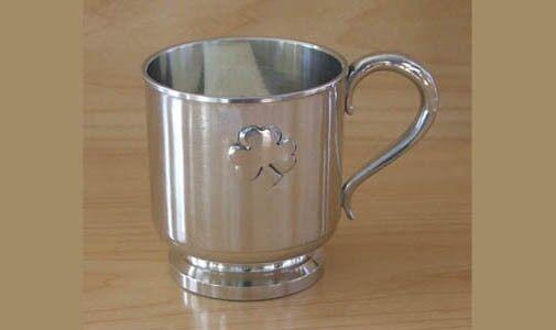 Irish Shamrock Baby Christening Cup Mullingar Pewter IRELAND