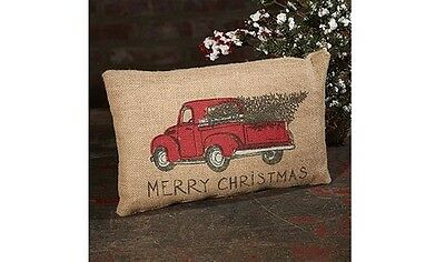 """MERRY CHRISTMAS Red Pickup Truck Burlap Pillow, 12"""" x 8"""", Country House"""