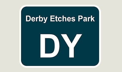 1x Derby Etches Park Train Depot Sticker/Decal 100 x 77mm