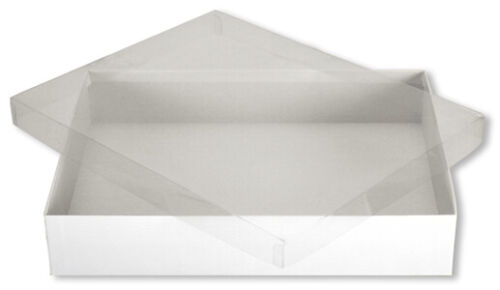 """Clear Lid Vinyl View Top Display Gift Boxes (18) Size 11 ¼ x 8"""" x 2"""""""