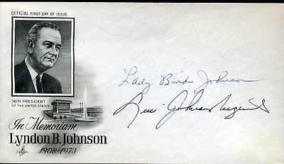 LADY BIRD AND LUCY JOHNSON SIGNED MATTED 1973 FDC JSA CERTED AUTHENTIC AUTOGRAPH