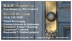 R.A.M. RENOVATIONS - SPECIALISTS IN HOME RENOS AND REMODELING West Island Greater Montréal image 1