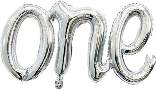 "16″ Script ""One"" Foil Letters Happy Birthday Balloons Party Decorations Greeting Cards & Party Supply"