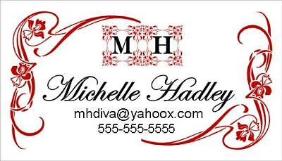 50 PERSONALIZED CALLING CARDS ELEGANT FLOURISH BORDER DESIGN---DIGITAL FILE ONLY
