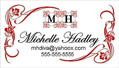 50 PERSONALIZED CALLING CARDS FLOURISH BORDER ELEGANT DESIGN