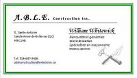 A.B.L.E. Construction Inc. (General Renovations/Repairs/Masonry)