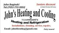 Heating, hot water tanks, line install, HRV, fireplace