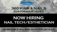 Nail Tech/Esthetician wanted modern downtown salon GREAT SALARY!