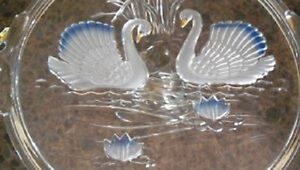 Swans on Lake-- Embossed Glass Cake Plate-West Germany