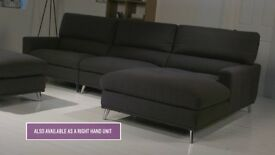 Hygena Azores Fabric Right Hand Corner Sofa - Grey
