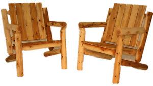 White cedar log chair kit