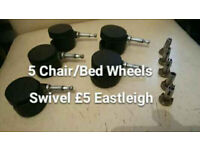 5 Rotary Castor Wheels With Fixings For Chair/Bed Etc