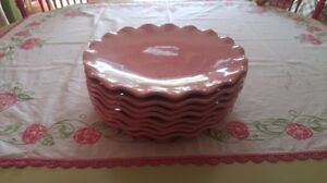 Set of 8 Pink Plates with Ruffled Edges