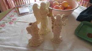Set of 3 Porcelain Angel Candleholders