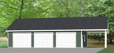 40x30 3-Car Garage with Carport -- 1,200 sqft -- PDF Floor Plan -- Model 3P