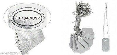 """100 PVC JEWELRY Price TAGS 1"""" x 1/2"""" w/ String + 100 """"Sterling Silver """" Labels"""