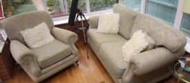 Green and cream sofa and chair excellent condition