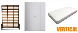 Double Wallbed+ Cabinet in white+Double Supreme mattress( wall bed, guest bed, hidden bed), New