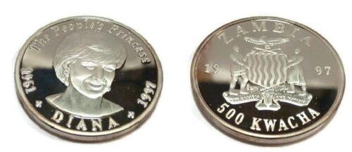 1997 Zambia Large Silver Proof 500 Kwacha-Princess Diana