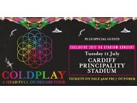 Coldplay x2 tickets reserved seated facing stage for 11th July
