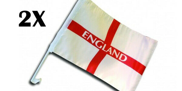 "2 X England Car Flag St Saint George's World Cup Euro 2020 12"" X 18''"