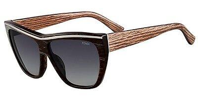 Fendi FS 5284 002 Sunglasses Striped Black Frame Brown Wood Authentic New