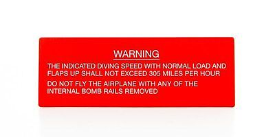 Boeing B-17 Flying Fortress Warning Placard WWII Aviation PLA-0109