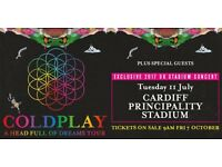 2 x Coldplay Cardiff July 11th Standing tickets (collectors)