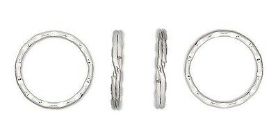 """Lot 100 KEY RINGS ~ 25mm 1"""" Split Ring ~ Hammered SILVER PLATED Nice + Bright"""