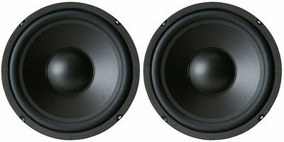 New  2  8  Speaker Woofers 8 Ohm Bass Eight Inch Audio Stereo Replacement Pair
