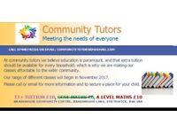 COMMUNITY TUTORS -MATHS CLASSES (£10 ph)