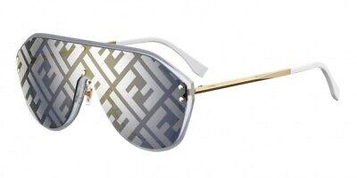 Fendi Fabulous FF M0039 G/S 83I/7R Gold White Silver Mirror Graphic Sunglasses